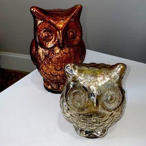 Two (2) decorative glass owls 🦉